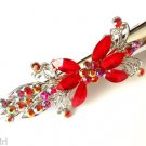 """Red Flower hair Clip 5"""" Claw with crystals"""