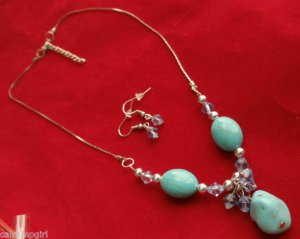 Turquoise Silver Necklace Earrings Set Blue dangling beads