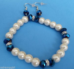 Glass Pearl & Crystal Beaded Stretch Bracelet Blue