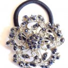 Black Flower Rhinestone Ponytail Holder / Brooch