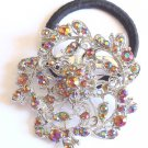 Topaz Flower Rhinestone Ponytail Holder / Brooch