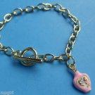 Pink Perfume Bottle Charm Bracelet Gold