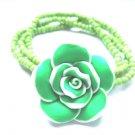 Green White Frangipani Plumeria Bracelet