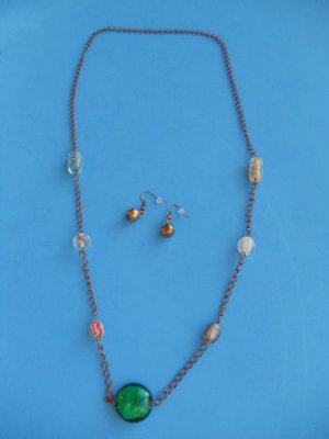 """30"""" Antique Gold Glass Beads Necklace earrings set 12"""