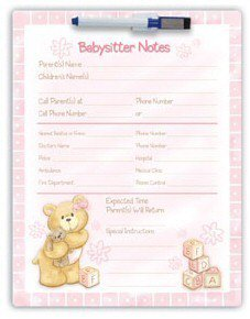 Babysitter Checklist Magnetic Notes Gund Bear Tales Pink Girl