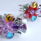 Multi Color flower Silver 3 Prong Jaw Clips Claw set 2