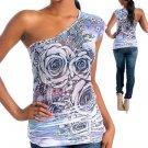 Purple Aqua Flower One shoulder top shirt Size S M L XL