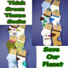 Lot 12 Pair Save the planet Socks sz 9-11 Think Green