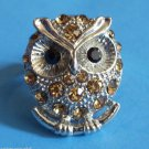 Owl silver cocktail Ring adjustable band Topaz Stones