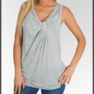Gray Knot Front Tank Top Shirt Size S M L