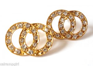 """Double Circle Crystal Earrings gold 1"""""""