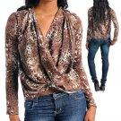 Animal Print Draped Sweater Shirt Top Size S M L
