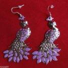 Large Silver Purple Metal Bird Peacock Earrings