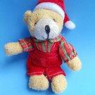 """Christmas Teddy Bear keychain 5"""" plaid shirt overalls"""