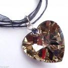 Topaz Glass Heart Prism Necklace