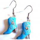 Blue Cowboy Boot Earrings crystal stones Western
