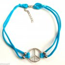 Blue Peace Sign Nylon Stretch Choker necklace