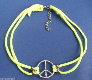 Yellow Peace Sign Nylon Stretch Choker necklace