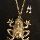 Gold Frog Necklace Earrings Set Topaz Crystal rhinestones