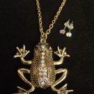 Gold Frog Necklace Earrings Set Shimmering Crystal rhinestones