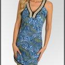 Floral Trim Blue Swirl Dress Size S M L
