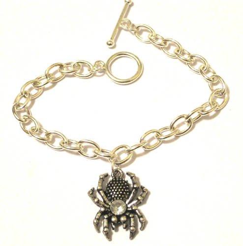 Spider Charm Bracelet Haloween Sterling Silver Finish