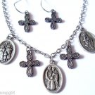 Antique Silver Saints medals Cross Necklace earrings
