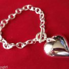 Large Silver Chunky Heart Charm Bracelet