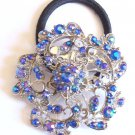 Blue Flower Rhinestone Ponytail Holder / Brooch
