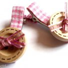 Pink Plaid Buttons Salon hair Clip set 2 Claws