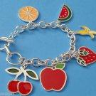 Fruit Charm Bracelet Apple Bananna Strawberry Cherry