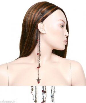 """Pearls and Chains Beaded Hair Extentions clip Assorted colors 10"""""""