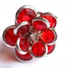 Silver Red Flower Cocktail Ring Adjustable band