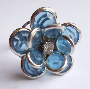 Silver Blue Flower Cocktail Ring Adjustable band