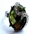Green Prism Cocktail Ring adjustable band Silver