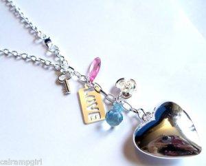 Silver Heart Love Charm Necklace key flower pink blue