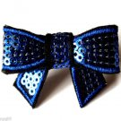 Blue Sequins Flashy Bow Cocktail Ring adjustable band silver