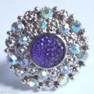 Purple Crystal Circle Cocktail Ring adjustable