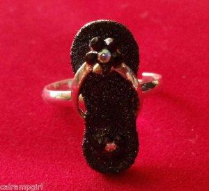 Black glitter flip flop Cocktail Ring Adjustable band