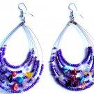 "Purple Oval Beaded semi precious stone Earrings 3"""