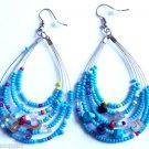 "Blue Oval Beaded semi precious stone Earrings 3"""