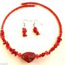 Red marble semi precious Stone Choker Earrings