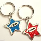 Set of 2 Friends Forever Keychains Red Blue Stars