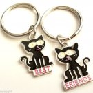 Set of 2 Best Friends Keychains Black Cats
