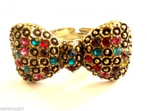 Bow Cocktail Ring adjustable Band Gold Rainbow Crystal Stones