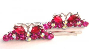 Butterfly Barrette Bobby Pins set of 2 Pink crystal