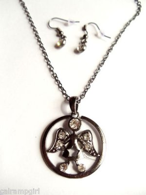 Angel Necklace Antique Silver crystal Religious
