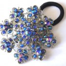 Ponytail Holder / Brooch Crystal stones Blue snowflake