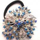 Blue Designer Ponytail Holder / Brooch Crystal stones