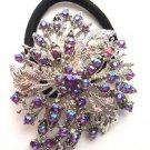 Purple Designer Ponytail Holder / Brooch Crystal stones